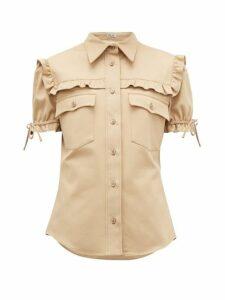 Miu Miu - Ruffled Cotton-twill Shirt - Womens - Beige