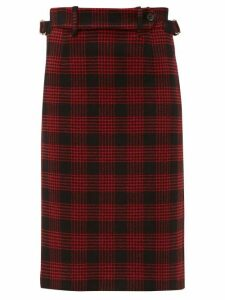 Redvalentino - Prince Of Wales-checked Pencil Skirt - Womens - Black Red