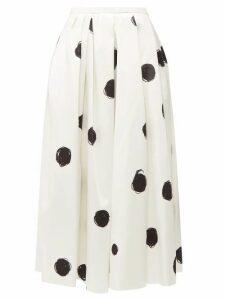 Christopher Kane - Polka-dot Cotton-blend Charmeuse Midi Skirt - Womens - White Black