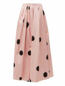 Christopher Kane - Dot Print Cotton Blend Satin Midi Skirt - Womens - Pink