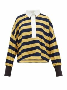 Loewe - Stripe Cotton Knitted Polo Top - Womens - Yellow Multi