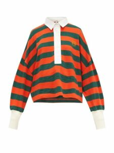 Loewe - Striped Cotton Knit Polo Top - Womens - Orange Multi
