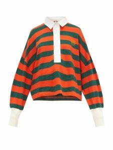 Loewe - Striped Cotton-knit Polo Top - Womens - Orange Multi