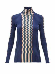 Loewe - Graphic Jacquard-knit Cotton Sweater - Womens - Blue Multi