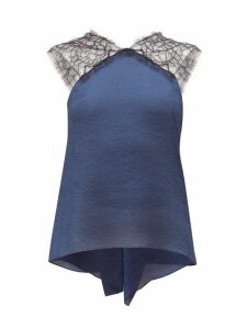 Roland Mouret - Dave Lace And Wave-lamé Top - Womens - Navy Multi