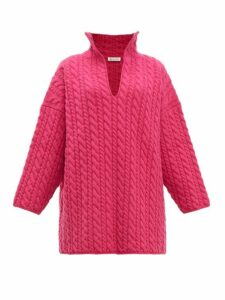 Balenciaga - Oversized Cable-knit Sweater - Womens - Pink