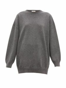 Balenciaga - Signature-intarsia Cashmere Sweater - Womens - Grey Multi