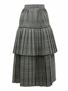 Gucci - Prince Of Wales-check Pleated Tiered Wool Skirt - Womens - Grey Multi