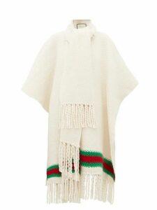 Gucci - Oversized Moss-stitch Fringed Wool Cape - Womens - Ivory Multi