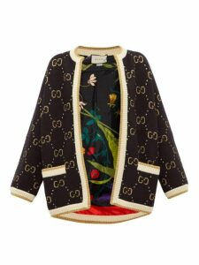 Gucci - Gg-jacquard Wool Cardigan - Womens - Black Multi