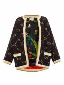 Gucci - Gg-jacquard Wool Cardigan - Womens - Black Multi