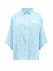 Balenciaga - Logo Jacquard Polka Dot Print Silk Blouse - Womens - Light Blue