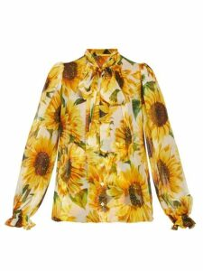 Dolce & Gabbana - Pussy-bow Sunflower-print Chiffon Blouse - Womens - Yellow Multi