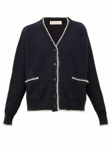 Marni - Contrast-trim Wool-blend Cardigan - Womens - Navy Multi