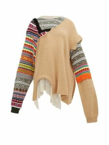 Preen By Thornton Bregazzi - Naya Fair Isle Knit Patchwork Cotton Sweater - Womens - Beige Multi