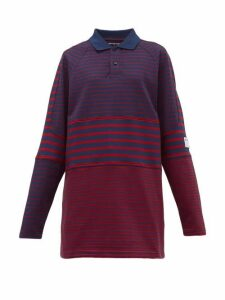 Martine Rose - Oversized Striped Cotton-piqué Polo Shirt - Womens - Navy Multi