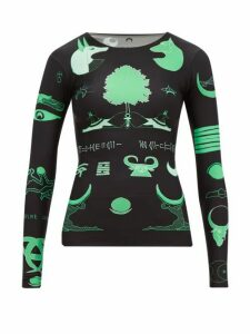Marine Serre - Long-sleeved Shamanic-print Top - Womens - Black Green