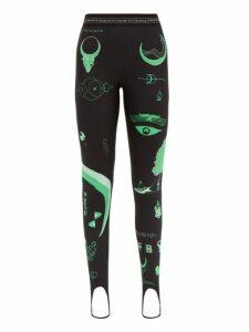 Marine Serre - Shamanic Print Stretch Jersey Leggings - Womens - Black Green
