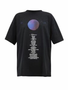 Vetements - Neptune Print Oversized Cotton T Shirt - Womens - Black Multi