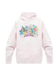 Vetements - Unicorn-print Hooded Sweatshirt - Womens - Light Pink