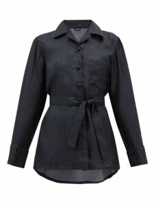 Giuliva Heritage Collection - The Giulietta Polka-dot Silk Shirt - Womens - Navy Multi