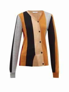 Jw Anderson - Asymmetric Striped Wool Cardigan - Womens - Brown Multi