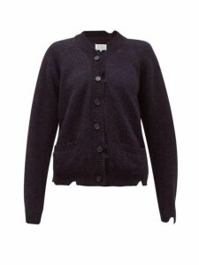 Maison Margiela - Distressed Wool Cardigan - Womens - Navy