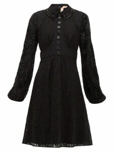 No. 21 - Crystal-embellished Cotton-blend Lace Dress - Womens - Black Navy