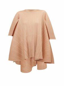 Pleats Please Issey Miyake - Petal Tie-back Pleated T-shirt - Womens - Beige