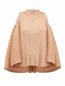 Pleats Please Issey Miyake - Pleated Trapeze Cut Tie Neck Top - Womens - Beige