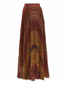 Etro - Devon Pleated Paisley-print Maxi Skirt - Womens - Brown Multi