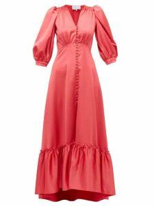 Luisa Beccaria - V-neck Puff-sleeved Gathered Satin Dress - Womens - Dark Pink