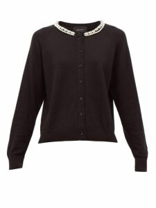 Simone Rocha - Pearl And Crystal Embellished Wool Blend Cardigan - Womens - Black Multi