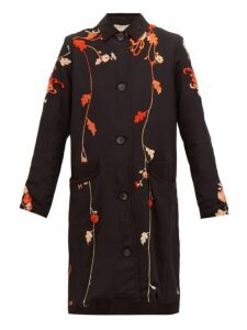By Walid - Clara Floral Embroidered Silk Coat - Womens - Black Red