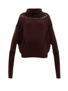 Palmer//harding - Roll-neck Cut-out Wool-blend Jumper - Womens - Burgundy