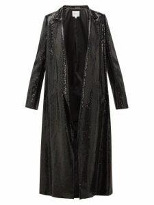 Galvan - Open-front Sequinned Coat - Womens - Black