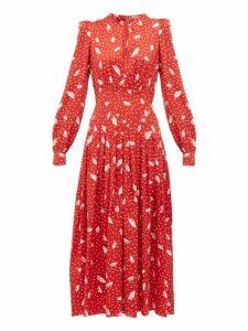 Alessandra Rich - Polka-dot Silk Dress - Womens - Red White