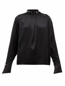Marques'almeida - Buckled-neck Silk-charmeuse Blouse - Womens - Black