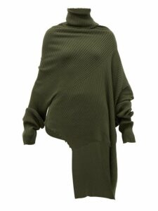Marques'almeida - Asymmetric Ribbed Wool Sweater - Womens - Khaki