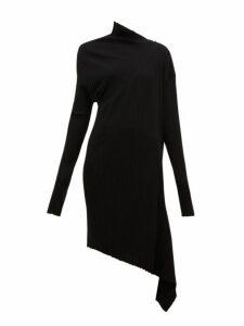 Marques'almeida - Draped Asymmetric Knitted Merino-wool Dress - Womens - Black