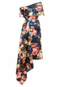 Richard Quinn - Off The Shoulder Asymmetrical Floral Satin Dress - Womens - Blue Multi