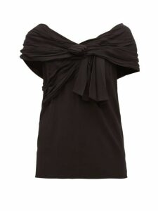 Prada - Draped Off-the-shoulder Crepe Top - Womens - Black