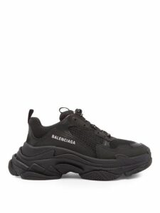 Balenciaga - Triple S Mesh And Nubuck Trainers - Womens - Black