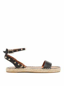 Valentino - Rockstud Strap Leather Espadrille Sandals - Womens - Black