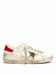 Golden Goose - Superstar Shearling Lined Leather Trainers - Womens - White Multi