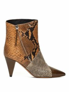 Isabel Marant - Latts Snake Effect Leather Ankle Boots - Womens - Tan Multi