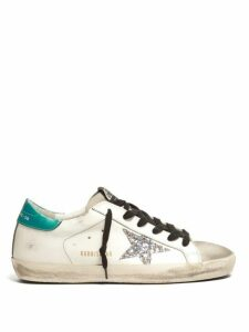 Golden Goose - Super Star Low Top Leather Trainers - Womens - Green White