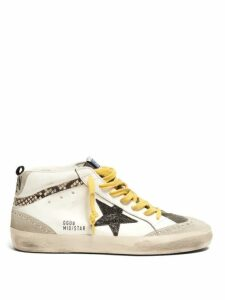 Golden Goose - Mid Star Mid Top Leather And Suede Trainers - Womens - White Multi