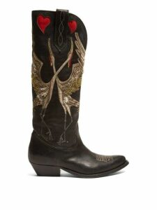 Golden Goose - Wish Star Bird Embroidered Leather Boots - Womens - Black Multi