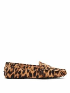 Tod's - Gommino Leopard Print Calf Hair Loafers - Womens - Leopard